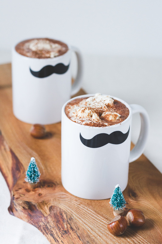 Cognac and hazelnut hot chocolate for a delicious Winter drink.