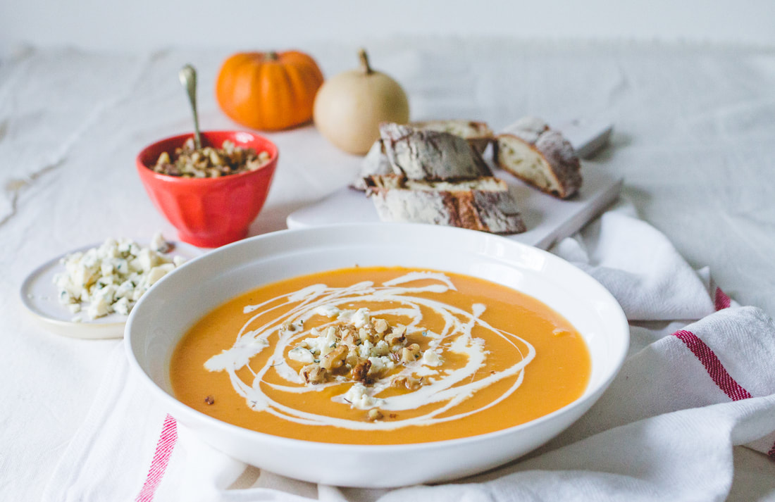 Butternut Squash Soup with Blue Cheese and Toasted Walnuts