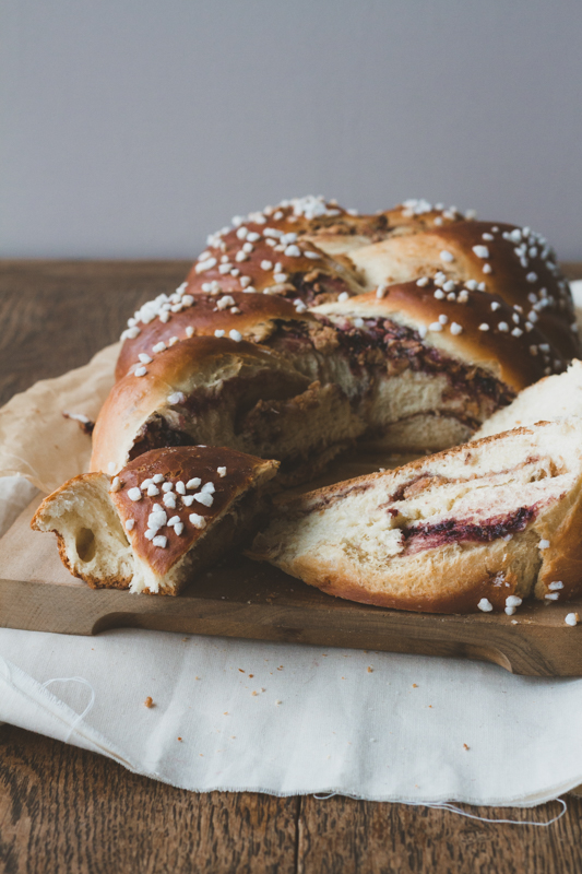 Blackberry and cashew butter challah bread.
