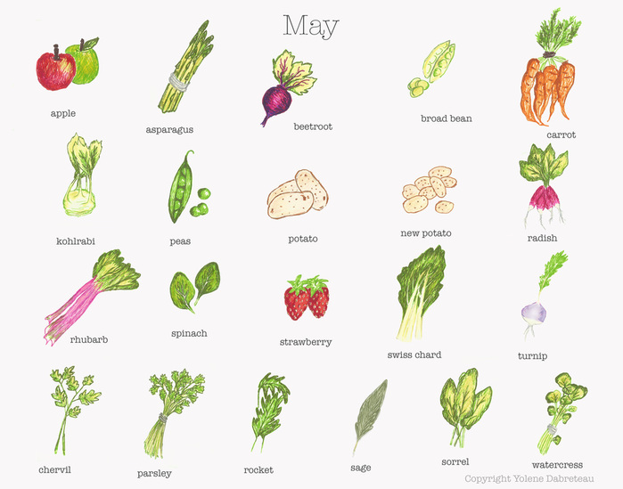 May Fruit and Vegetable Calendar - On cremedecitron.com