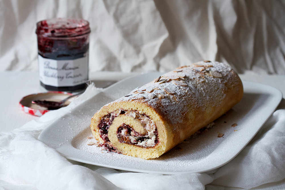 Blackberry and Almond Chantilly Cream Roulade Recipe