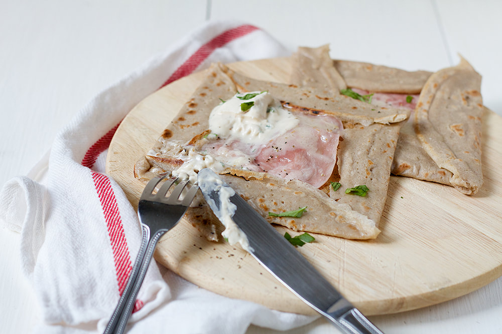 Buckwheat Galettes with Ham, Cheese and Roast Garlic and Parsley Crème Fraîche Recipe