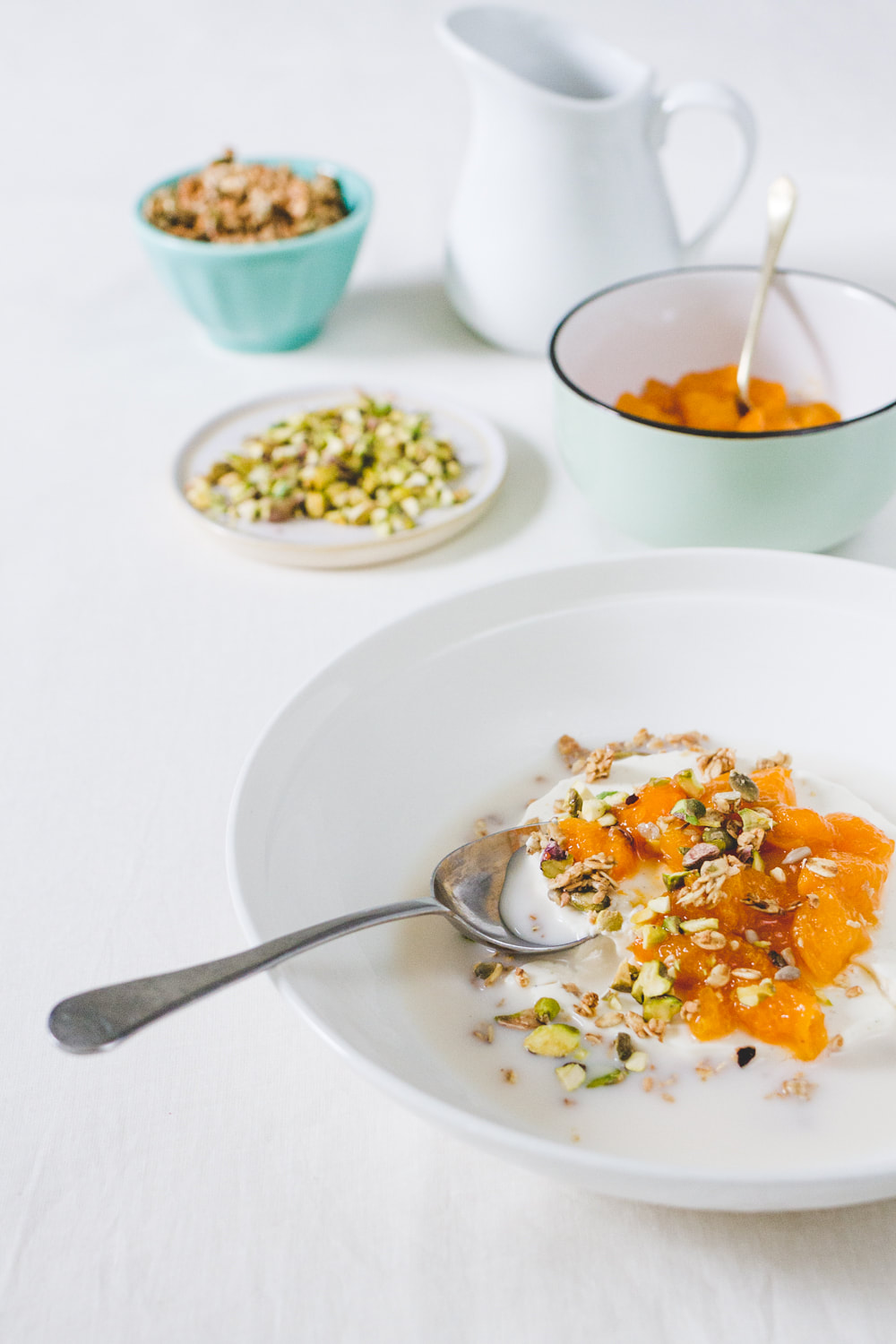 Breakfast Yogurt Panna Cotta with Apricot Compote and Pistachio Recipe