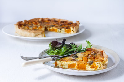 A delicious recipe for butternut and blue cheese quiche.