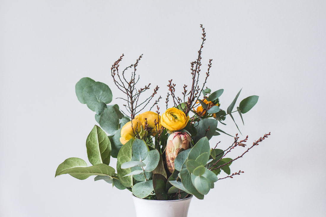 Winter Bouquet with Eucalyptus, Protea and Ranunculus