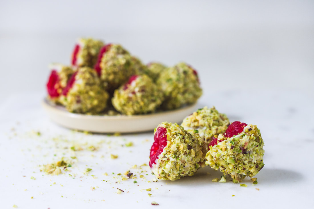 Raspberry, White Chocolate and Pistachio Bites Recipe
