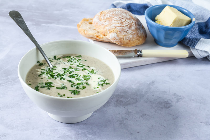 A delicious recipe for creamy mushroom soup as a perfect comforting meal idea for dinner.