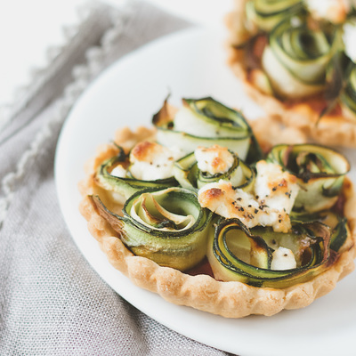 Courgette (zucchini) and goats cheese tartlets recipe
