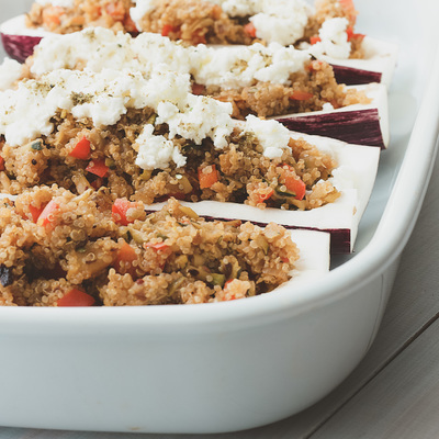 Stuffed aubergines (eggplants) with quinoa, Summer vegetables and feta cheese recipe