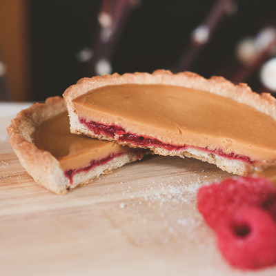 Raspberry and roasted white chocolate tartlets recipe