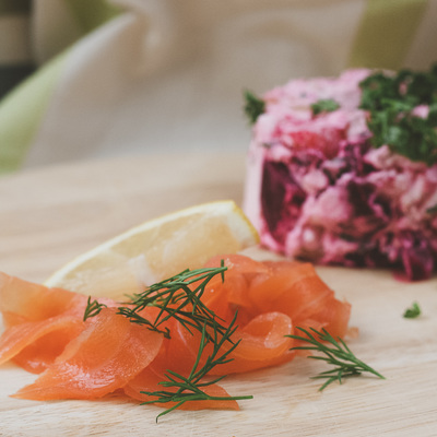 Finnish rosolli and smoked salmon recipe