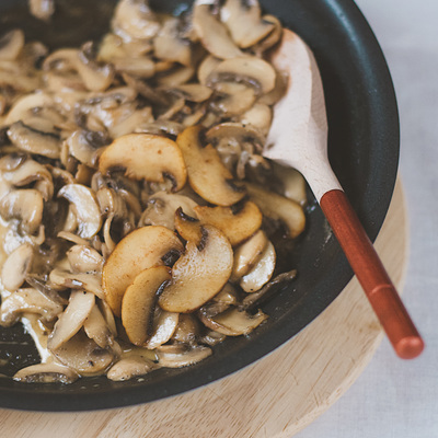 Mushroom with cream and cognac side dish recipe for Christmas