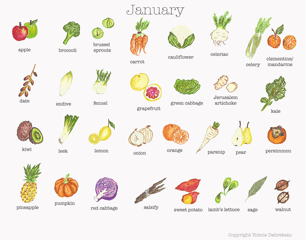 January Fruit and Vegetables Seasonal Calendar
